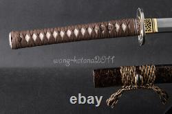 103CM Clay Tempered 1095 Steel Katana Japanese Samurai Sharp Sword Cut Bamboo