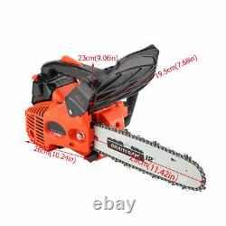 12 3000r/min Bar Gas Powered Chainsaw Chain Saw Wood Cutting 25CC Crankcase USA