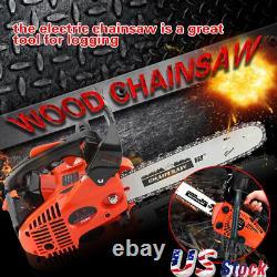 12 Bar 25.4CC Gas Chainsaw Gasoline Chain Saw Home Tree Cutting Wood 900W