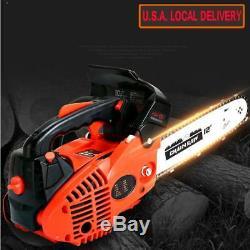 12 Bar Gas Chainsaw Chain Saw 25cc Wood Cutting +Crankcase Gasoline 900W