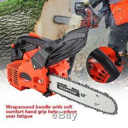 12 Bar Gas Powered Chainsaw Chain Saw 25.4cc Wood Cutting Drindling Engine US