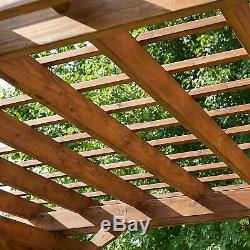 12' x 10' Cedar Pergola Backyard Patio Wood is Pre-Cut Pre-Stained