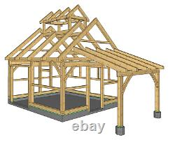 14'x16' Maple Sugar House with 8'x10' Lean-To CNC Pre-Cut Timber Frame Package
