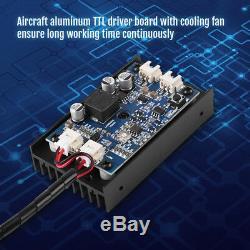 15W Blue Laser Head Engraving Module TTL 450nm Wood Marking Cutting Tool DIY