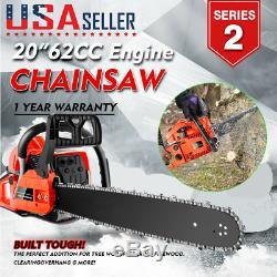 20 3.5HP 62CC Guide Board Chainsaw Gasoline Powered Handheld Chain Saw Cut Wood