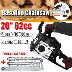 20 4500W 62CC Chainsaw Bar Gasoline Powered Chain Saw 2 Stroke Engine Wood Cut