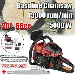20'' 5000W 68CC Chainsaw Gasoline Powered Chain Saw Engine 2 Cycle Cutting Wood