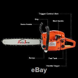 20 52CC Gas Chainsaw Wood Cutting tool 2 cycle Powered 2 Stroke Petrol Logging