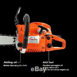 20 52CC Gas Chainsaw Wood Cutting tool 2 cycle Powered Aluminum Crankcase Gas