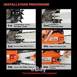 20 52CC Gas Chainsaw Wood Cutting tool 2 stroke Power Enginee Logging EasyStart