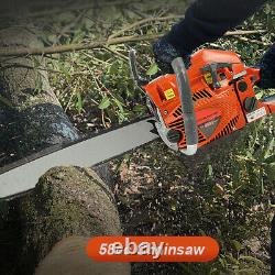 20 58CC Gas Chainsaw Wood Cutting Aluminum Crankcase Easy Start Outdoor Power