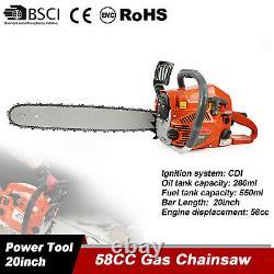20 58CC cordless Gas Chainsaw Petrol Gasoline Logging Wood Cutting 2 stroke