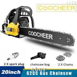 20 62CC Gas Chainsaw 2-Stroke Aluminum Crankcase Chain Saw Wood Cutting Machine