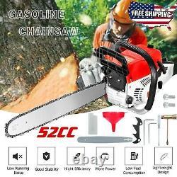 20 Bar Gas Powered Chainsaw Chain Saw 52cc Wood Cutting Aluminum Crankcase Home
