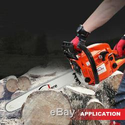 20 Bar Gas Powered Chainsaw Chain Saw 52cc Wood Tree Cutting Aluminum Crankcase