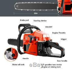 20 Bar Gas Powered Chainsaw Chain Saw 58cc Wood Cutting Aluminum Crankcase NEW