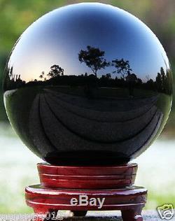 200mm Huge Asian Quartz Black Magic Crystal Cut Healing Ball Sphere +Wood Stand