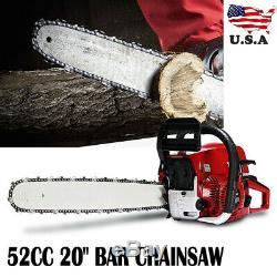 20inch Pro 52CC Engine Cutting Wood Saw Bar Gasoline Chainsaw 2-cycle US STOCK