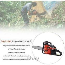 22 Bar Gas Powered Chainsaw Chain Saw Wood Cutting 2 Cycle Engine New 52cc