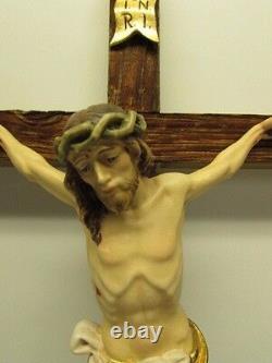 22 Dolomiten Crucifix in Wood Rustic Style Unique Rough Cut Cross Painted