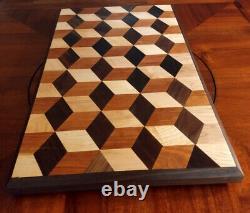 3-D Butcher Block, Cutting Board. Cherry, Maple, Walnut 26.5Lx15.5Wx1.8W USA