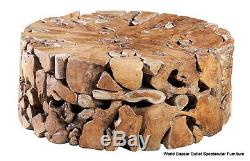 39 Round Coffee Table Solid Teak Wood Cool smooth cuts contemporary unique