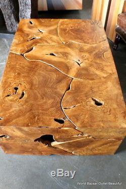 47 Rectangular Coffee Table Solid Teak Wood slice cuts contemporary unique