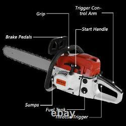 52CC 20'' 4.0HP Bar Gasoline Chainsaw Gas Powered Wood Cutting Chain Saw Red