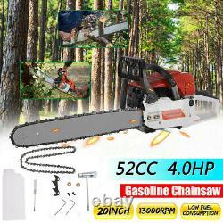 52CC 20 Gasoline Chainsaw Cutting Wood 4.0HP Gas Sawing Crankcase Chain Saw NEW