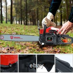 52cc 20 Bar Gas Powered Chainsaw Chain Saw Wood Cutting Aluminum Crankcase