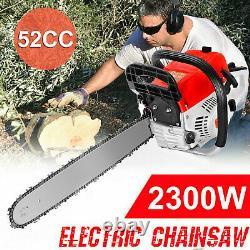 52cc 20 Bar Gas Powered Chainsaw Chain Saw Wood Cutting Crankcase Gasoline