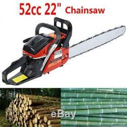 52cc 22 Bar Gasoline Gas Powered Chainsaw Engine 2 Cycle Cutting Wood Chain Saw