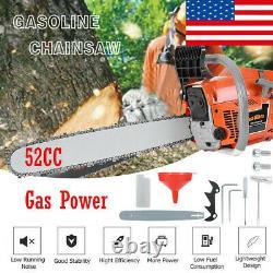 52cc Petrol Chain Saw Gas Powered 20 Bar Wood Cutting Aluminum Crankcase Saw US