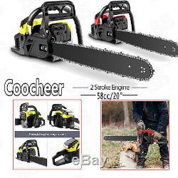 58CC 20 Inch Chainsaw 2 Stroke Gasoline Powered Handheld Chain Saw Cutting Wood