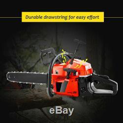58cc 20 Bar Gasoline Gas Powered Chainsaw Engine 2Stroke Cutting Wood Chain Saw