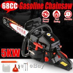 5KW 68CC Chainsaw Power Gasoline 20 Chain Bar With Brake Wood Cutting Machine New