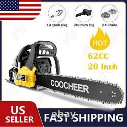 6258CC Gas Chainsaw 20 Bar Gasoline 2Stroke Chain Saw Wood Cutting Saws +GIFT