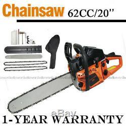 62CC 20 Bar Chainsaw Gasoline Powered Cutting Wood Gas Chain Saw 2-Stroke