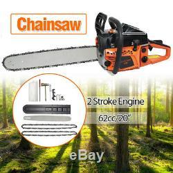 62cc 20 Bar Gasoline Gas Powered Chainsaw Engine 2 Cycle Cutting Wood Chain Saw