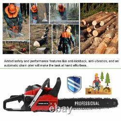 62cc 2300W Gas Powered Chainsaw 20'' 2 Stroke Cutting Wood Gasoline Chain Saw