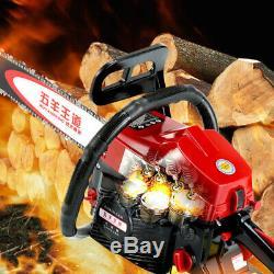 62cc Chainsaw Gasoline Powered Cutting Wood Gas Chain Saw 2 Stroke Tree Pruning