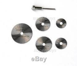 6pc Circular Power Saw Cutting Blade Abrasive Drill Bit Die Grinder Mandrel Set