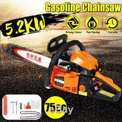 75cc 5.2KW Powered Chainsaw 20 inch Bar Gasoline Chainsaw Wood Cutting Aluminum