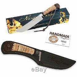 BBQ Chef Knife Stainless Steel Blade Birchbark Handle Hand Forged Cutting Food