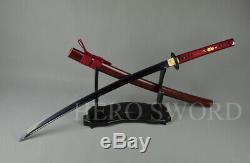 Black T1095 High Carbon steel Japanese samurai sword Sharp Blade Katana Cut Tree
