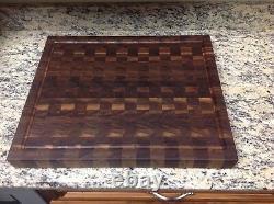 Black Walnut Butcher Block Cutting Board End Grain 18 X 22 With Juice Groove
