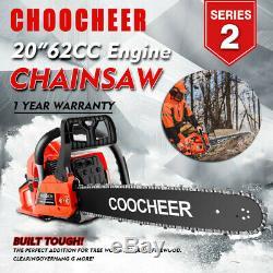 COOCHEER 62cc Gasoline Powered Chainsaw 20 Bar Engine Wood Cutting 2 Cycle