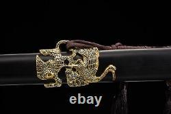 Chinese Folded Steel Gold Crane Ebony Sword Handmade Jian Cut Water Bottles
