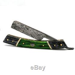 Damascus Steel Straight Razor Cut Throat Barber Salon Shaving Razor Vintage Wood