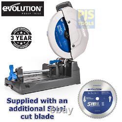 Evolution S355CPS 240v raptor 355mm tct steel cutting chop saw & steel blade